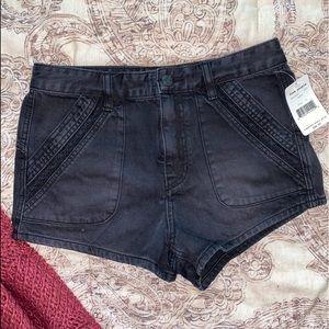 Free People Black Denim Shorts